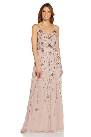 Adrianna Papell Purple Beaded Mesh Blouson Gown