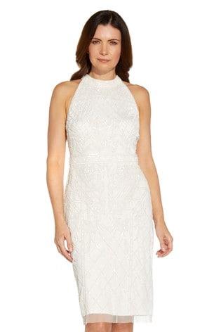 Adrianna Papell White Beaded Halter Cocktail Dress