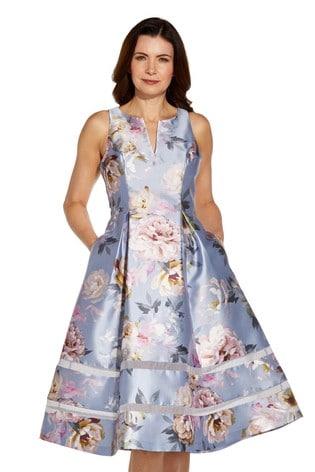 Adrianna Papell Blue Print Mikado Sleeveless Dress