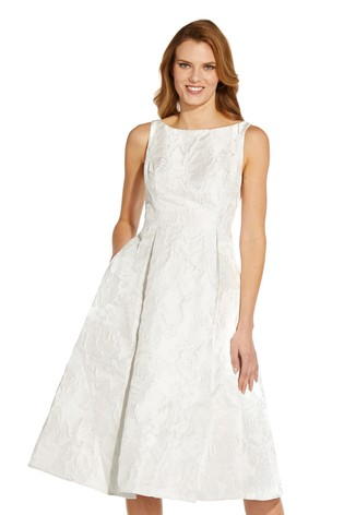 Adrianna Papell White Jacquard Party Dress