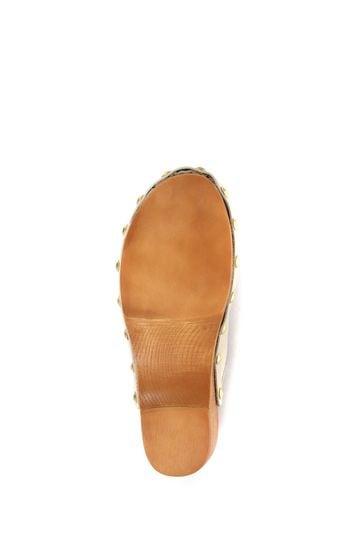 Jones Bootmaker Cream Bronx Ladies Leather Clogs