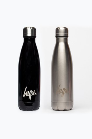 Hype. Black/Stainless Steel Bottle 2 Pack Bottle Set