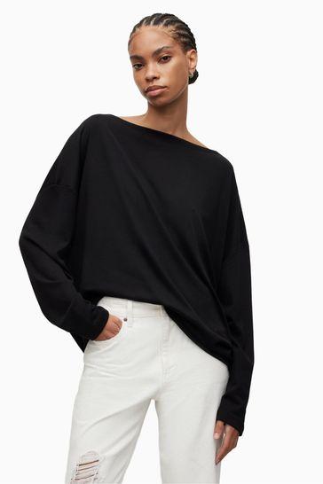 AllSaints Black Off the Shoulder Rita Top