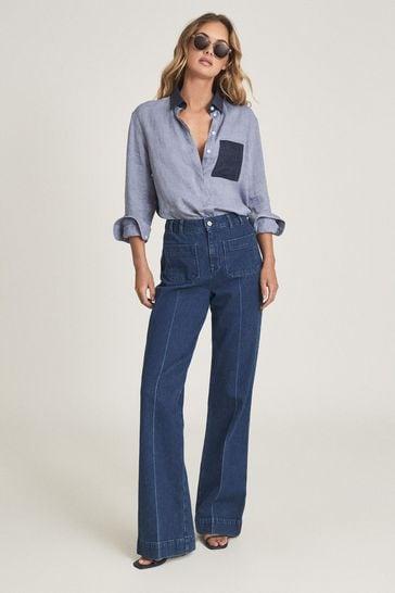REISS Lianna Blue Colourblock Linen Shirt