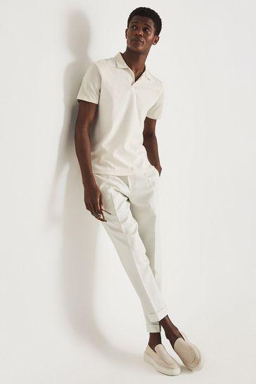 REISS Stefan Cream Pique Cotton Open Collar Polo Shirt
