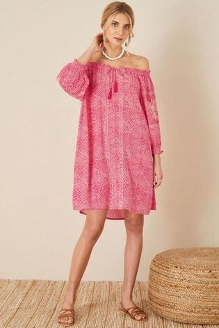 Monsoon Anastasija Printed Off-Shoulder Dress