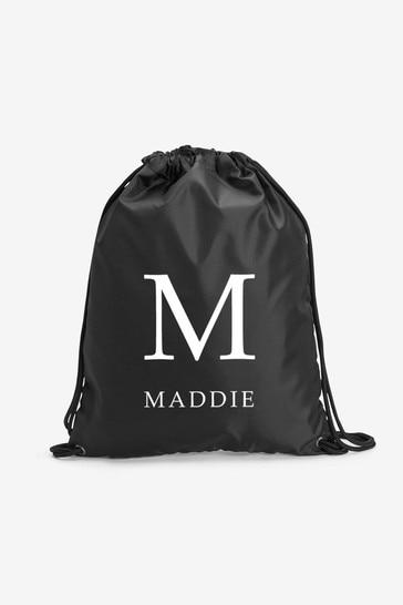 Black Personalised Sports/PE/Gym/School Drawstring Bag