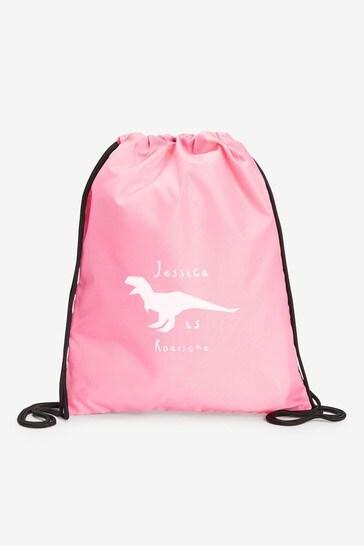 Pink Personalised Sports/PE/Gym/School Drawstring Bag