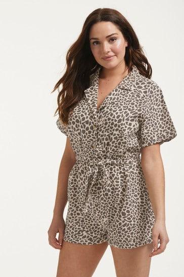 Figleaves Leopard Print Serengeti Button Down Shirt Playsuit