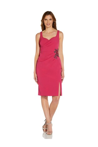 Adrianna Papell Pink Sweetheart Crepe Cocktail Dress
