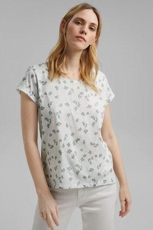 Esprit Cream Leaf Print T-Shirt