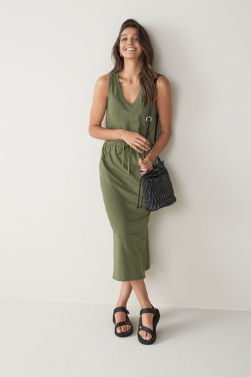 Khaki Green Slub Midi Dress