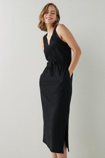 Black Slub Midi Dress
