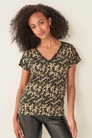 Ochre Ditsy Lace Insert Short Sleeve T-Shirt