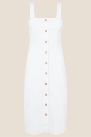 Monsoon Button-Through Denim Pinafore Dress