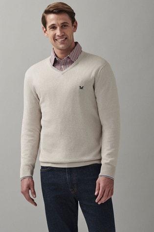 Crew Clothing Company Grey Cotton Silk V-Neck Jumper