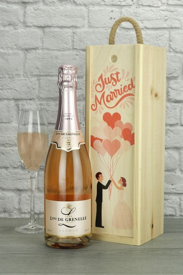 Just Married Sparkling Rose Wine Gift by Le Bon Vin