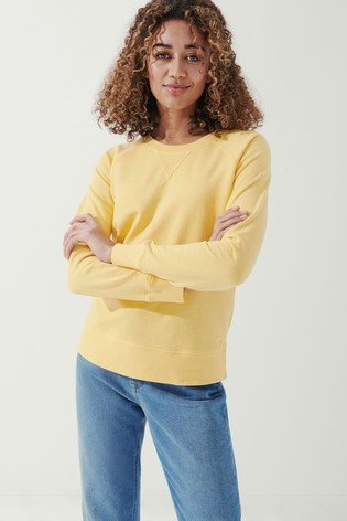 Crew Clothing Company Yellow Pigment Dyed Sweatshirt