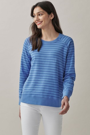 Crew Clothing Company Blue Pigment Stripe Sweatshirt
