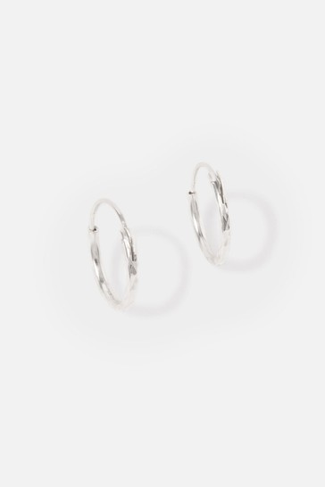 Accessorize Sterling Silver Textured Huggie Hoops