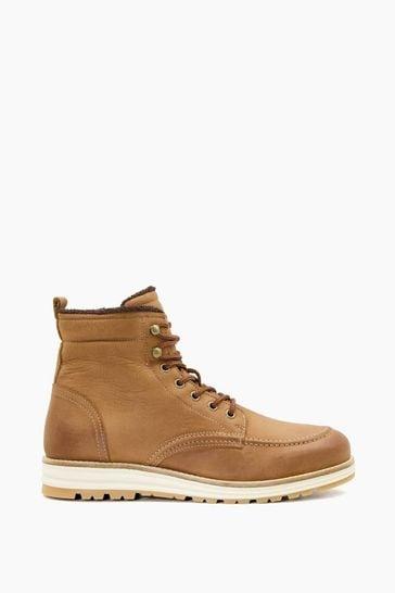 Dune London Brown Crannes Apron Wedge Hiker Boots