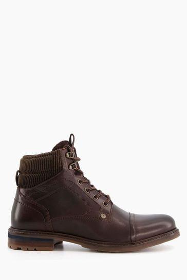 Dune London Brown Candor Toe Cap Worker Boots