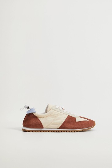 Mango Leather Mixed Sneakers