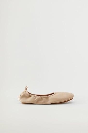 Mango Elastic Leather Ballet Shoes