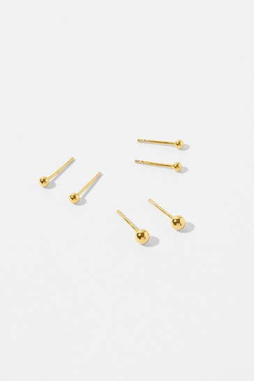Accessorize Gold-Plated Sterling Silver Stud Set
