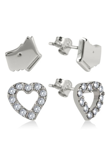 Radley Love Sterling Silver Twin Pack Dog and Stone Set Heart Stud Earrings