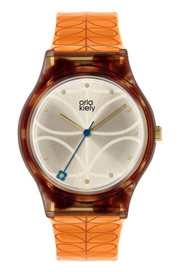 Orla Kiely Bobby Orange Strap Stem Print Watch