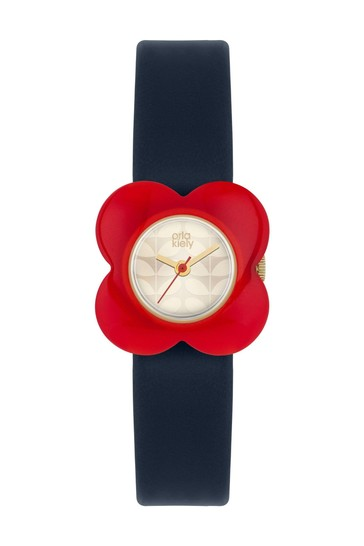 Orla Kiely Poppy Black Leather Strap And Red Flower Shaped Dial Watch