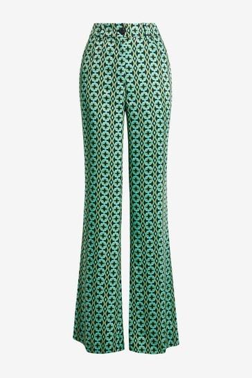 Mango Green Geometric Print Trousers