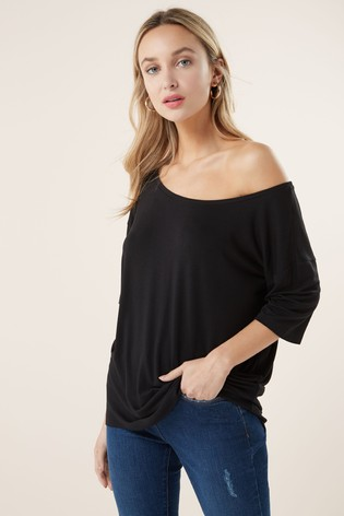 Black Solid Oversized T-Shirt