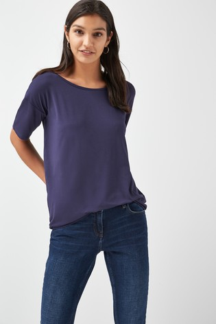 Navy Solid Oversized T-Shirt