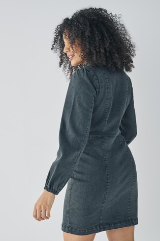 Washed Black Fuller Bust Long Sleeve Fitted Denim Dress