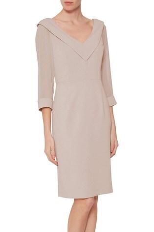 Gina Bacconi Pink Cynthia Crepe And Chiffon Dress