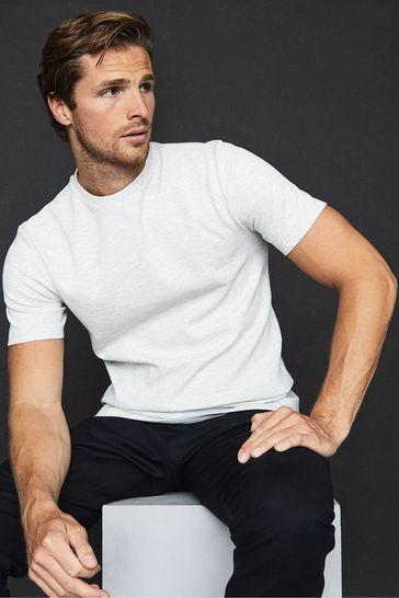 Reiss Grey Putney Textured Crew Neck T-Shirt