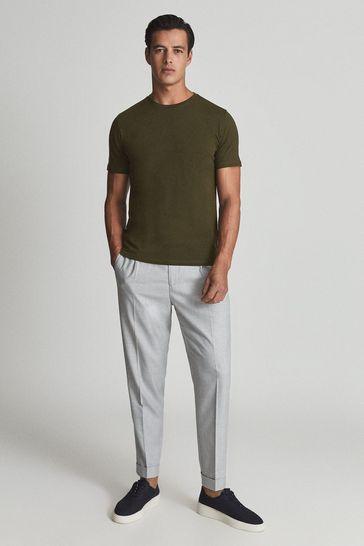 Reiss Green Bless Regular Fit Crew Neck T-Shirt