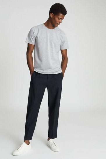 Reiss Grey Bless Marl Regular Fit Crew Neck T-Shirt