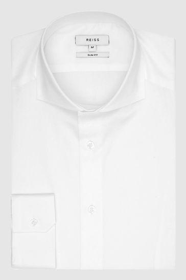 Reiss White Storm Two Fold Cutaway Collar Slim Fit Shirt