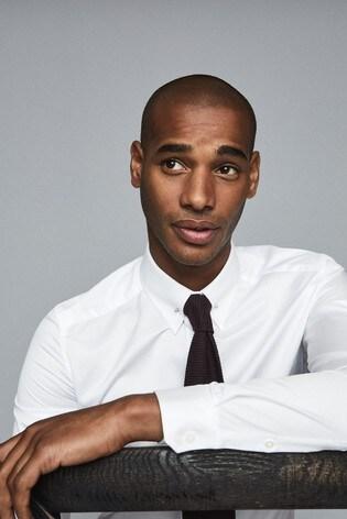 Reiss White Caldwell Two Fold Collar Bar Slim Fit Shirt