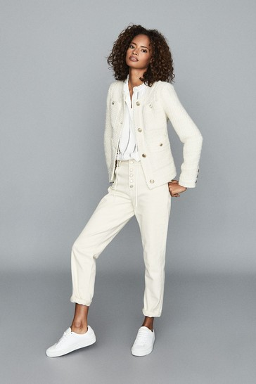 Reiss White June Short Bouclé Jacket