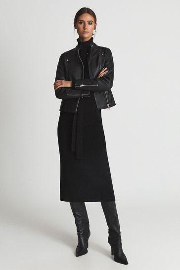 Reiss Black Tallis Leather Biker Jacket