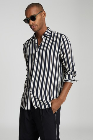 Reiss Navy Keanu Striped Shirt