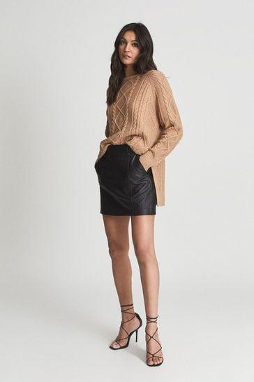 Reiss Black Eliza Leather Mini Skirt