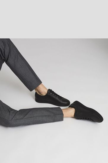 Reiss Black Luca Tumbled Leather Trainers