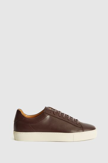 Reiss Red Finley Leather Contrast Sole Trainers
