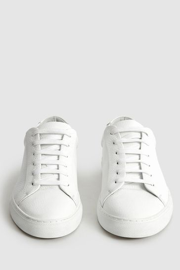 Reiss White Luca Tumbled Leather Sneakers