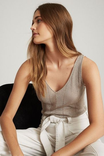 Reiss Pink Alice Metallic Knitted Top